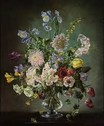 flowers in a glass vase irises chrysanthemums and others art uk