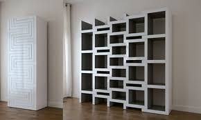ceiling to floor white wooden wall cabinet with cube book shelves