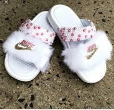 pink slides shoes pink slide shoes fur slides custom slides nike white