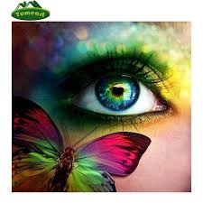 diy painting kit blue green rainbow butterfly eye square