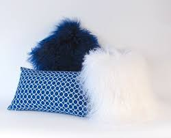 Mongolian Lamb Cushion Mongolian Fur Pillow Blue Fur Pillow Genuine Mongolian Lamb