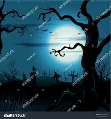 creepy tree halloween background full moon stock vector 150191822