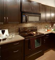 cool small kitchen design and decoration using brown glass tile