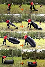 Camping Lounge Chair Inflatable Folding Sleeping Bag Black