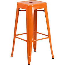 out door bar stools amazon com flash furniture 30 high backless orange metal indoor
