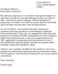 construction site supervisor cover letter