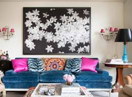 living room decorating with colors with velvet blue sofa and