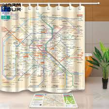 Paris Fabric Shower Curtain by Warm Tour Custom Paris Metro Track Map Waterproof Decorative