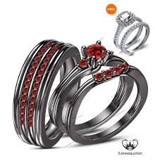 his and rings 14k black gold 1 30 ct garnet his and band bridal trio