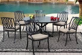 san marcos cast aluminum outdoor patio 7pc dining set 60 inch round
