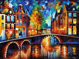 the bridges of amsterdam u2014 palette knife oil painting on canvas by