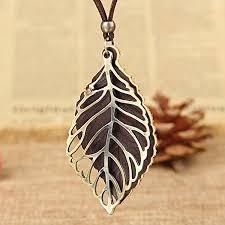 vintage necklace pendants images Vintage long rope leaf necklace jpg