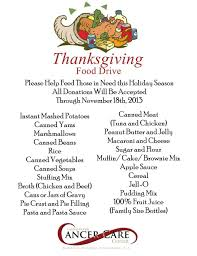 thanksgiving the items requested for donation were collection of
