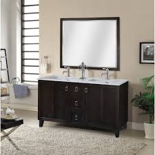 in series 60 inch classic double sink bathroom vanity dark brown