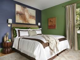 solid color bedroom inspiration feature artistic painting wall