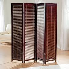 Sliding Room Divider Dark Brown Wooden Sliding Room Divider With Four Panels And Legs