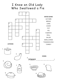easy thanksgiving crossword puzzles for kiddo shelter
