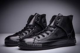 Converse High Heels Converse High Heels All Black Converse All Star Leather Side
