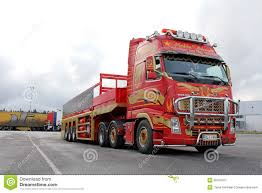 volvo semi trailer red volvo fh with special trailer editorial photography image