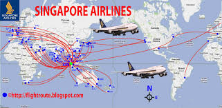Spirit Route Map by International Flights Singapore Airlines Route Map