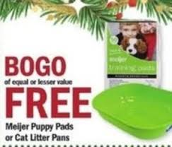meijer puppy pads or cat litter pans bogo free at meijer