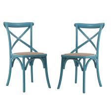 Light Dining Chairs Light Blue Elm Wood Rattan Vintage Style Dining Chairs Set Of 2