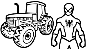 how to draw coloring book tractor and spiderman for children art