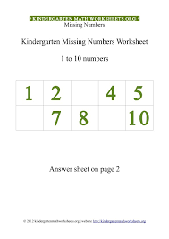 kindergarten 1 to 10 missing numbers worksheet kindergarten math
