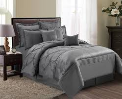 Pinched Duvet Cover 8 Piece Aubree Pinched Pleat Gray Comforter Set