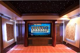 Home Theater with 3D Sky Ceiling Transitional Home Theater