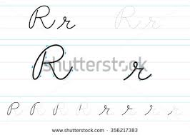 cursive letters learning write rr stock vector 356217383