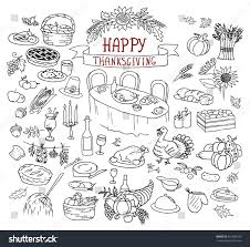 handdrawn thanksgiving day doodles collection line stock vector