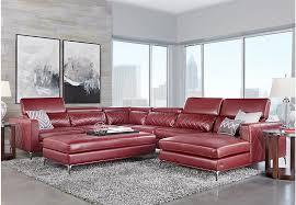 Rooms To Go Living Rooms - sofia vergara sorrento red 5 pc sectional living room living