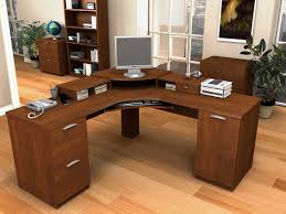 Corner Computer Desk With Drawers Lacquered Walnut Wood Corner Computer Desk Which Completed With