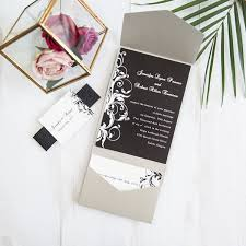 pocket wedding invitations classic black and white floral pocket wedding invitations with