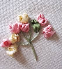 silk ribbon roses stitch of the month silk ribbon embroidery simple spray