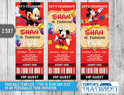 Mickey Mouse Invitation Card Mickey Mouse Ticket Invitation Template Psd Diy By