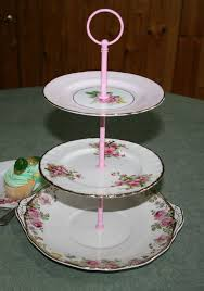 tier cake stand vintage shabby chic mismatched 3 tier cake stand in shades of pink