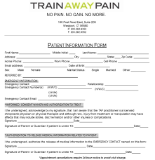 new patient forms train away pain intake form template wor vawebs