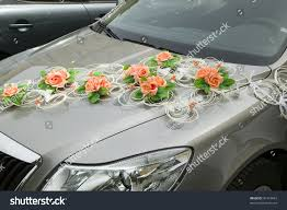 car decorations flower driving bride groom stock photo 81418687