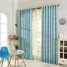 Embroidered Linen Curtains Blue Floral Embroidery Linen Elegant Living Room Curtains