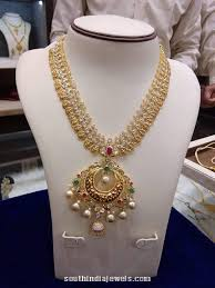gold stones necklace designs images Gold stone coin necklace south india jewels jpg