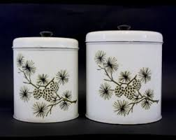 vintage metal kitchen canisters woodland canisters etsy