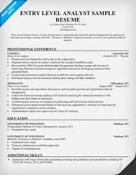 Resume For Financial Analyst Entry Level Financial Analyst Resume Sample Gallery Creawizard Com