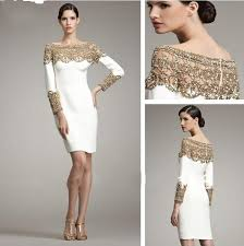 semi formal dresses white and gold sleeves homecoming dresses