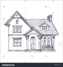 cute little house victorian cute little house outline ink stock vector 678260494