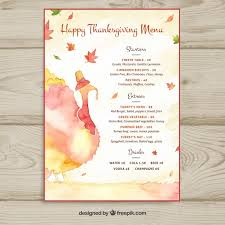 watercolor thanksgiving menu template vector free