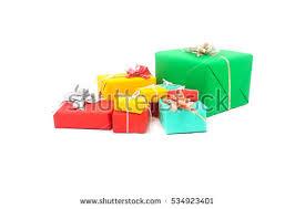 wrapped gift boxes gift boxes christmas ballsisolated on white stock photo 115992274