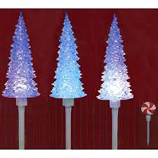 Led Christmas Pathway Lights Set Of 3 Led Lighted Color Changing Musical Christmas Tree Pathway
