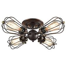 4 Light Ceiling Fixture Yobo Lighting Rubbed Bronze Wire Cage Vintage 4 Lights Semi